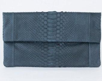 Grey - Genuine Python snakeskin Clutch / Envelope  -  Small