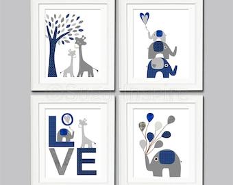 Navy and grey Nursery Art Print Set, Kids Room Decor, Baby/Children Wall Art - Love, Giraffe, elephant, tree, balloons -UNFRAMED