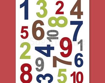 Navy, red,green and brown nursery wall art, Nursery Art Print, UNFRAMED, 8x10 - numbers nursery