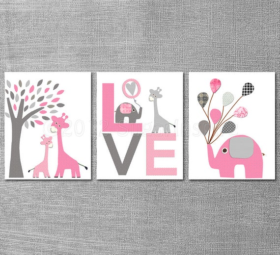 Pink And Grey Nursery Art Print Set X Kids Room Decor - Pink and grey nursery decor
