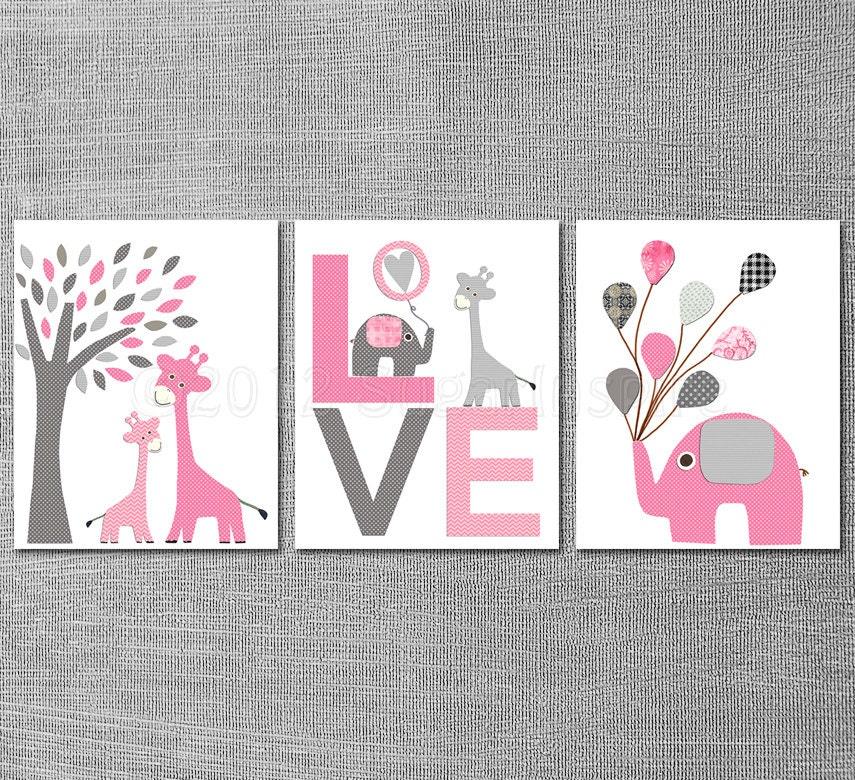 Pink and grey nursery art print set 8x10 kids room decor for Pink and grey kids room
