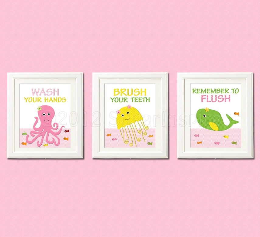 Kids Bathroom Art Print Set 8x10 Bathroom Decor For Girls
