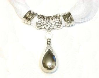 Fashion Bright Drop Pendant White Scarf Jewelry Set  Holiday Gift