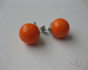 Orange Bead Stud Earrings