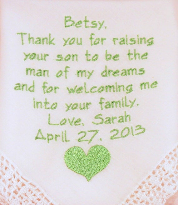 Embroidered WEDDING GIFTS For MOTHER In Law Wedding Handkerchief Personalized Hankerchief For