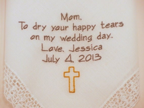 WEDDING GIFTS for Mother of the BRIDE Personalized Hankerchiefs ...