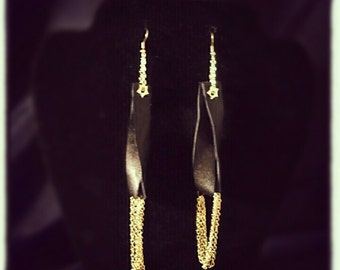 Leather and Chain Earrings