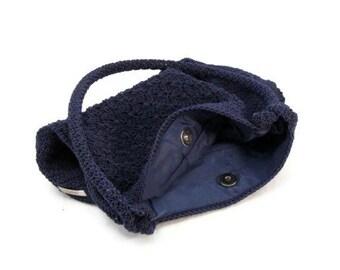 Blue ESPRIT Purse - Vintage Macrame Style Handbag