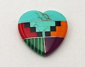 Zuni Inlayed Large Heart  30mm