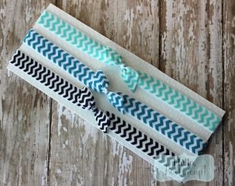 Set of 3 Chevron Elastic Headband - Aqua- Turquoise - Navy Blue Foe Bow Soft Headbands