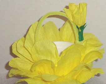 Tea Party Favor Baskets Party Favors basket crepe paper flower petals yellow candy buffet retro May Basket