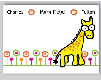 Giraffe Note cards Personalized