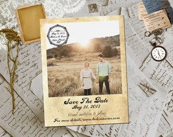 """Wedding Save The Date Magnets - TurinHill Vintage Photo Personalized 4.25""""x5.5"""""""