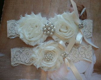 SALE-Shop Best Seller - Wedding Garter Set -Ivory Flowers on a Ivory Stretch Lace with Pearls & Rhinestones-  Style G291