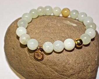 Yoga Bracelet - Lotus Charm, Ohm bracelet - meditation bracelet, Mala Beads Bracelet, Boho Spiritual Jewelry, Zen Jewelry, gold, silver