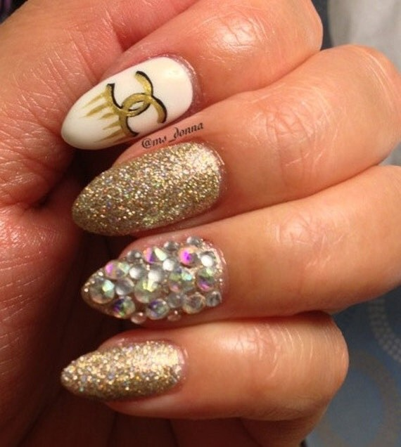 Gold designer inspired stiletto press on nails with real like this item prinsesfo Choice Image