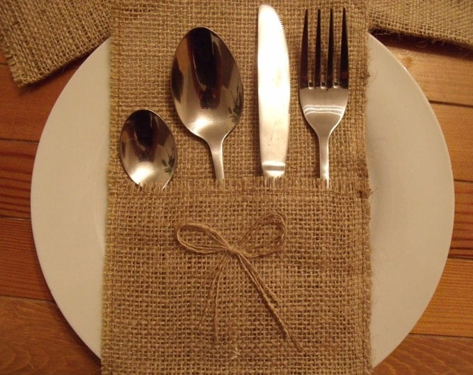 70 Burlap Silverware Holders with One Bows , Rustic Wedding