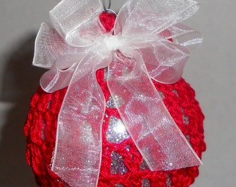 Red Crochet Christmas Ball Ornament - White Bow