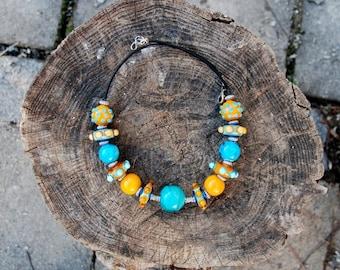 HandmadeBlue  Glass Lampwork Bead Necklace