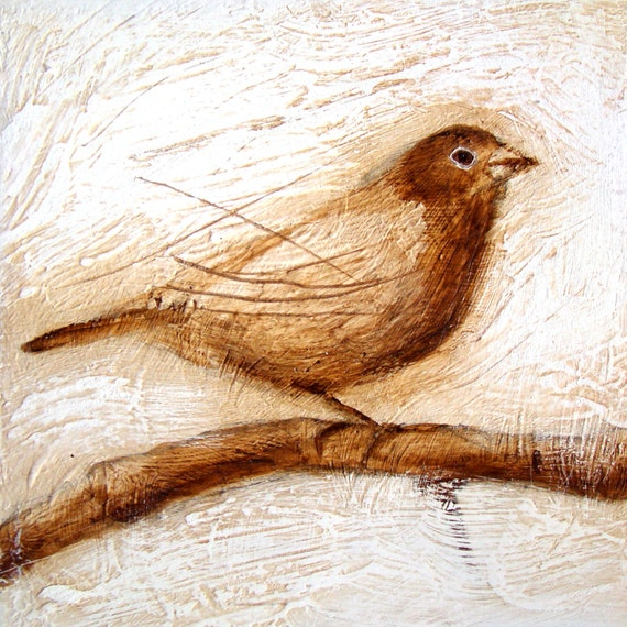 Sing  a new song (nr 1) - Small Sepia Art Print of Bird (Canary)