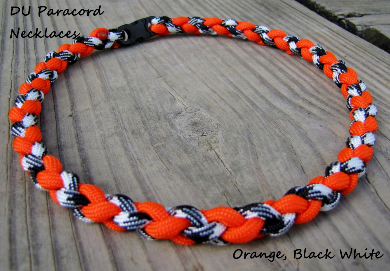 paracord sports necklace or bracelet orange black white