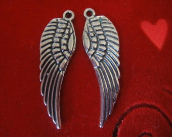 925 sterling silver oxidized angel wing charm 1 pc.
