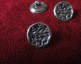 925 sterling silver oxidized  button 1 pc.