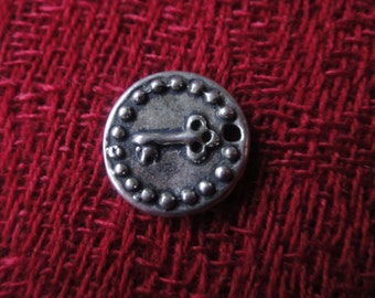 925 sterling silver oxidized  charm with a key