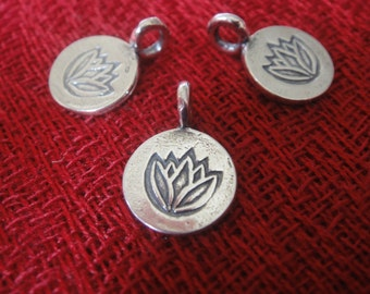925 sterling silver oxidized lotus charm 1 pc., silver lotus charm , silver flower, lotus