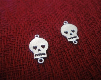 2pc 925 Sterling Silver Flat Skull Connector Charm  Shiny