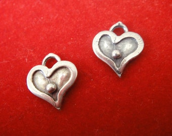 925 sterling silver oxidized heart charms, silver heart charm1pc