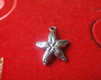 925 sterling silver oxidized starfish charm 1 pc.