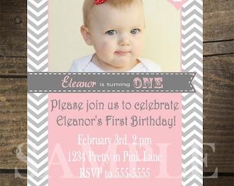 Custom Pretty in Pink Chevron Invitation