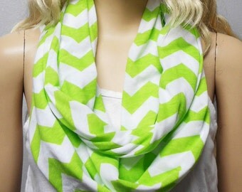 LIME Green  & White Chevron Print  Infinity Scarf  Soft Jersey Knit