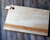 Custom, Personalized Name and Date, Cherry Strip Modern Wood Cutting Board