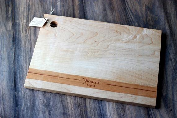 Custom, Personalized Name and Date, Cherry Strip Modern Wood Cutting Board
