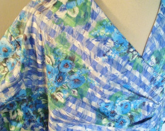 1950s cotton blue poppy day dress for the curvaceous lady
