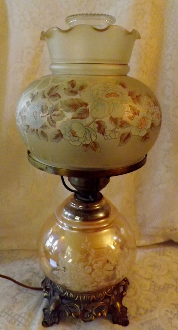 Double Globe Hurricane Lamp Stenciled Amber Opaque Glass