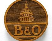 B&O Railroad Logo Wooden Fridge Magnet - White Text - Small