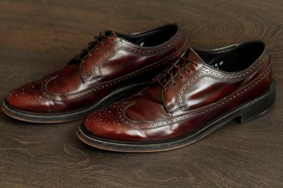 florsheim vintage oxblood wingtip mens size 10 5 dress shoe