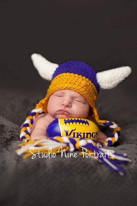 Minnesota Viking Hat with ear flaps and ties by CurleyQsCorner
