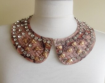 detachable imitation leather peter pan collar necklace beads bridal wedding christmas gift for her brown nr. 51