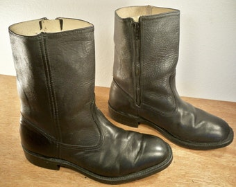 Vintage WORK N Sport Made in USA Black Leather Soft Toe Motorcycle Pull On Biker Men's Boots Size 10 Extra Wide