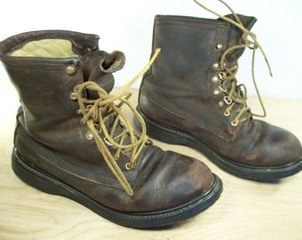 Vintage CABELA'S Shell Hunting Sport Birding Work Chore Brown Leather Mens Boots Made in USA Size 7.5