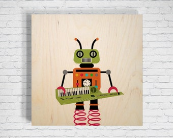 Robot Keytarist: Birch Wall Art