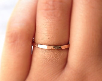 CLASSIC Gold Stack Ring, 14k Gold Filled Stacking Ring, Gold Band Ring, Hammered Gold Ring, Minimalist Jewelry
