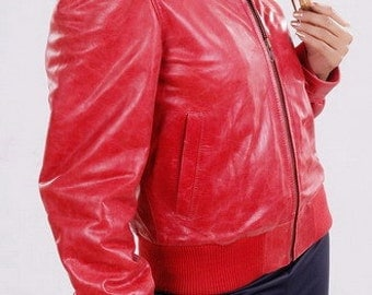 Leather Jacket for Women Real Lamb Leather in Red