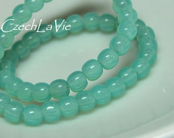 Round Druk Beads Green Opal Turquoise (007)