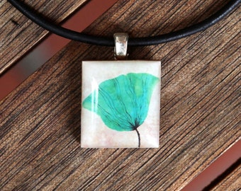 Aqua Poppy Resin Scrabble Tile Pendant Necklace