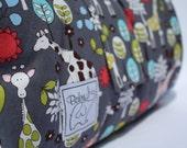 Baby Padded Play Mat - Michael Miller 'giraffe garden', gray, red, yellow, and gray minky fabric
